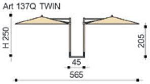 Ombrellone quadrato doppio Kronos - misure